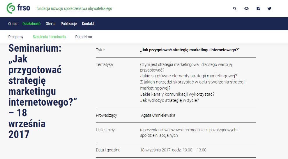 Seminarium Jak przygotować strategię marketingu internetowego