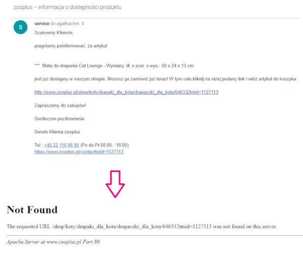 nie dziala link w mailu