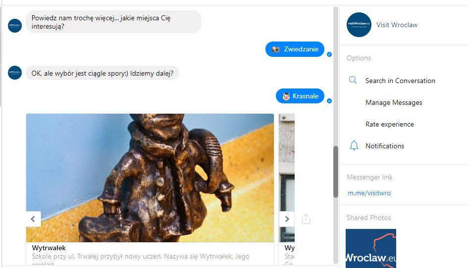 przykład chatbot Visit Wrocław
