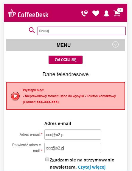 formularz w sklepie internetowym