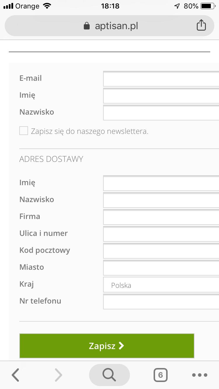 nieresponsywny formularz