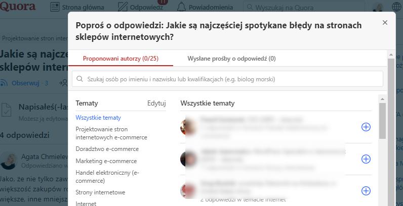 poproś o odpowiedź na Quora po polsku