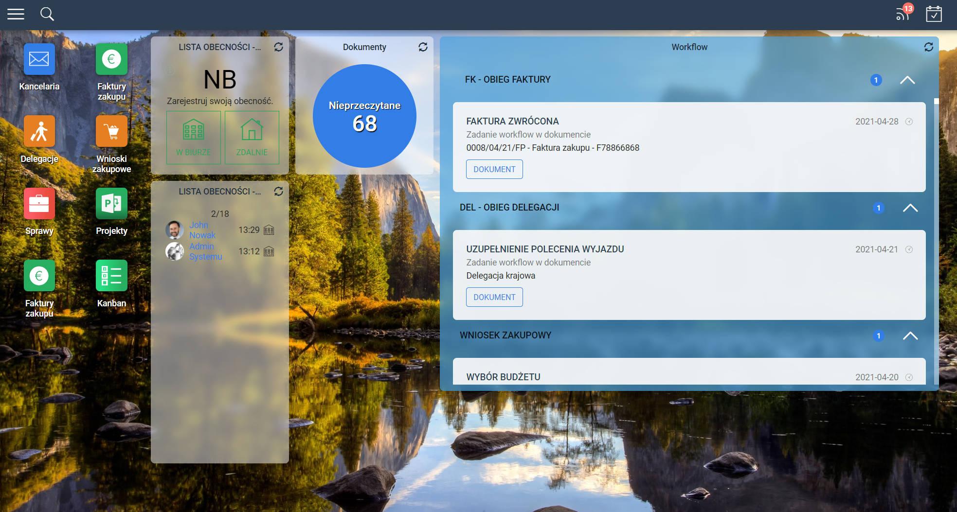 dashboard aplikacji Ready