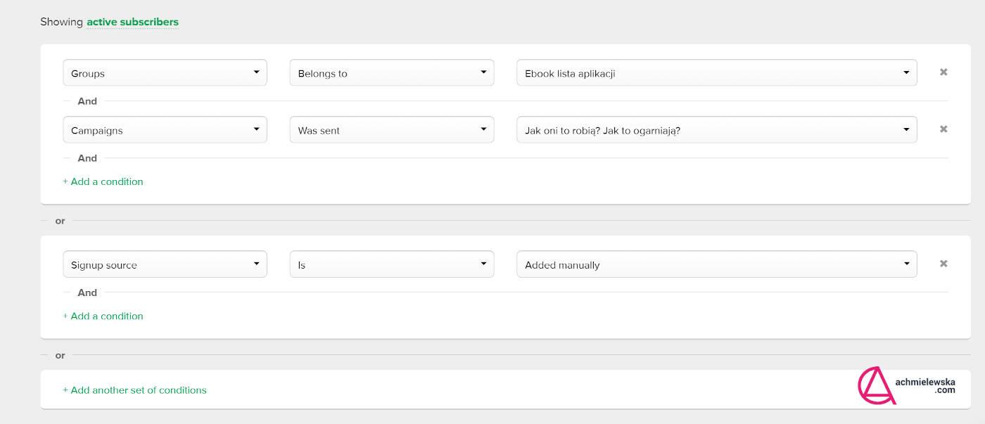 tworzenie segmentów mailerlite